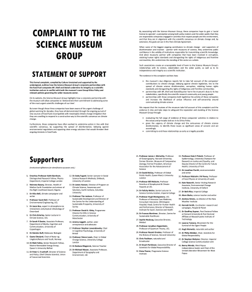 Complaint summary and signatories (single page spread)