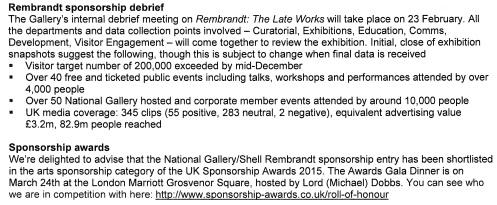 Rembrandt exhibition - performance indicators excerpt