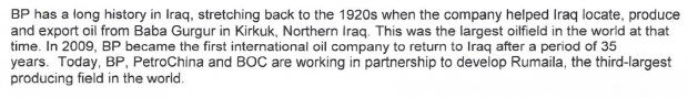 BM - BP's history in Iraq in press release